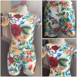 Vintage floral polyester playsuit / romper